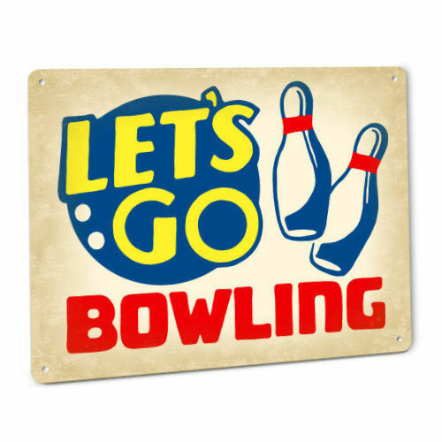 Lets Go Bowling Metal Retro Sign Ball Pins League Bowl Alley Wall Decor Plaque