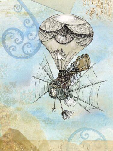 Steampunk Balloon Fantasy Creation Surreal Fine Art Print Poster A3 A4