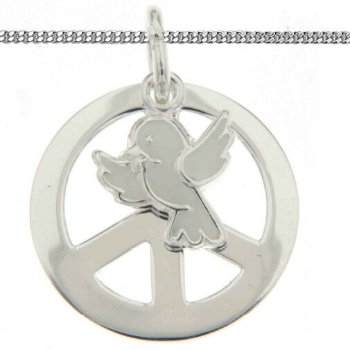 Kinder Taufe Kommunion Konfirmation Peace Taube Anhänger mit Kette Silber 925