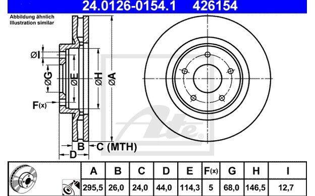 ATE Juego de 2 discos freno Antes 296mm ventilado para NISSAN QASHQAI