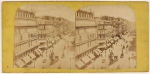 Parigi-Istantanea-Animato-Boulevard-Francia-Foto-Stereo-Vintage-Albumina-c1865