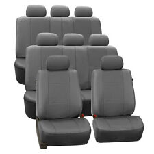 Gray Deluxe Perforated Leatherette 8Seater 3 Row Set Split Bench Seat Covers