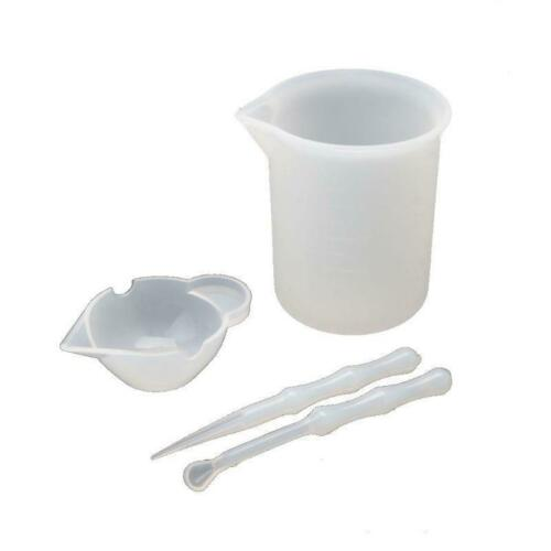 4Pcs Reusable Silicone Resin Mixing Measuring Cups Stick Spoon Jewelry Tools DIY