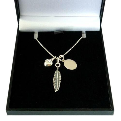 Pluma De Plata Collar con Cualquier Grabado en una caja de regalo plata esterlina .925.