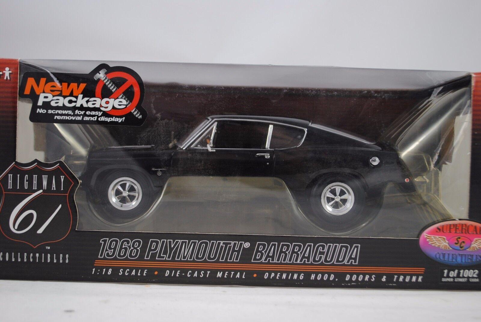 1:18 Highway 61 Supercar Coll. 1968 Plymouth Barracuda Nero Lmtd.1/1002 Rarneu