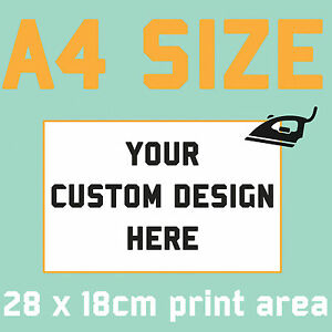 Custom Text Iron on T Shirt Transfer Your Image Photo Logo Personalised Prints All Colour & Black Fabrics A4 (large)