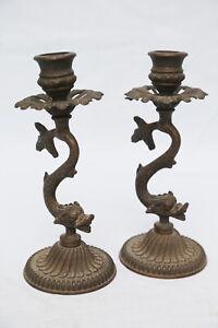 coppia candelabri bronzo antichi liberty tritone scultura XX XIX secolo fiamma