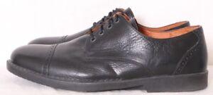 J-Koda-Bradman-Black-Pebbled-Leather-Cap-Toe-Dress-shoes-Oxford-45-Men-039-s-US-12