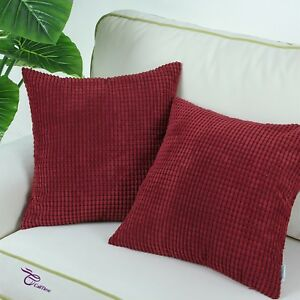 Details About Set Of 2 Burgundy Throw Pillows Covers Ss Corn Soft Corduroy Striped 22 X22