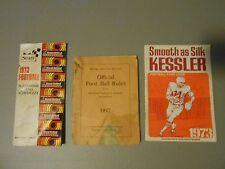 LOT OF 3 NFL FOOTBALL VINTAGE GUIDES,SCHEDULES,1937,1973,SPALDINGS,SEARS,KESSLER