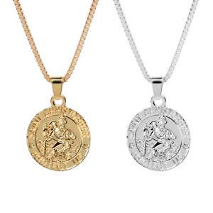 Duovin-Round-Collar-Jesus-Piece-Necklace-Pendant-Chain-Gold-Silver-Charm-Jewelry