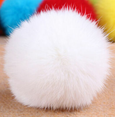 New Cute Genuine Fur Ball Handbag Key Chain Cell Phone Car Pendant 8CM