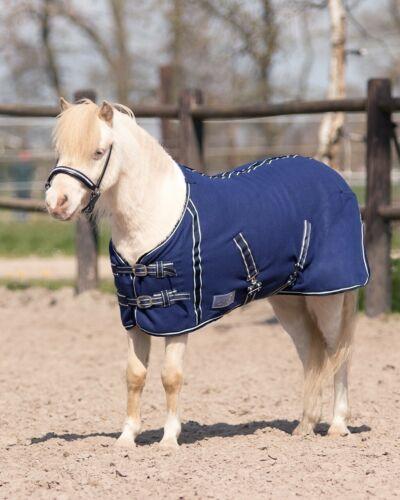 QHP Falabella Fleece Blanket minishetty Cross Straps Blue with White Stitch Detailing