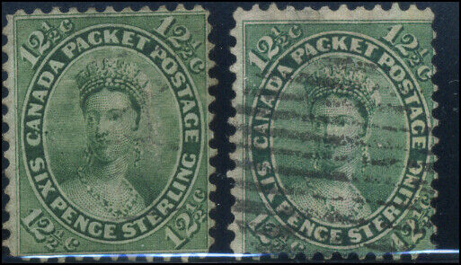 Canada #18 used Faults 1859 First Cents 12 1/2c green Queen Victoria 2 shades