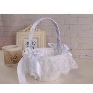 White-Wedding-Basket-Satin-Bowknot-Rhinestone-Lace-Flower-Girl-Basket-Decor