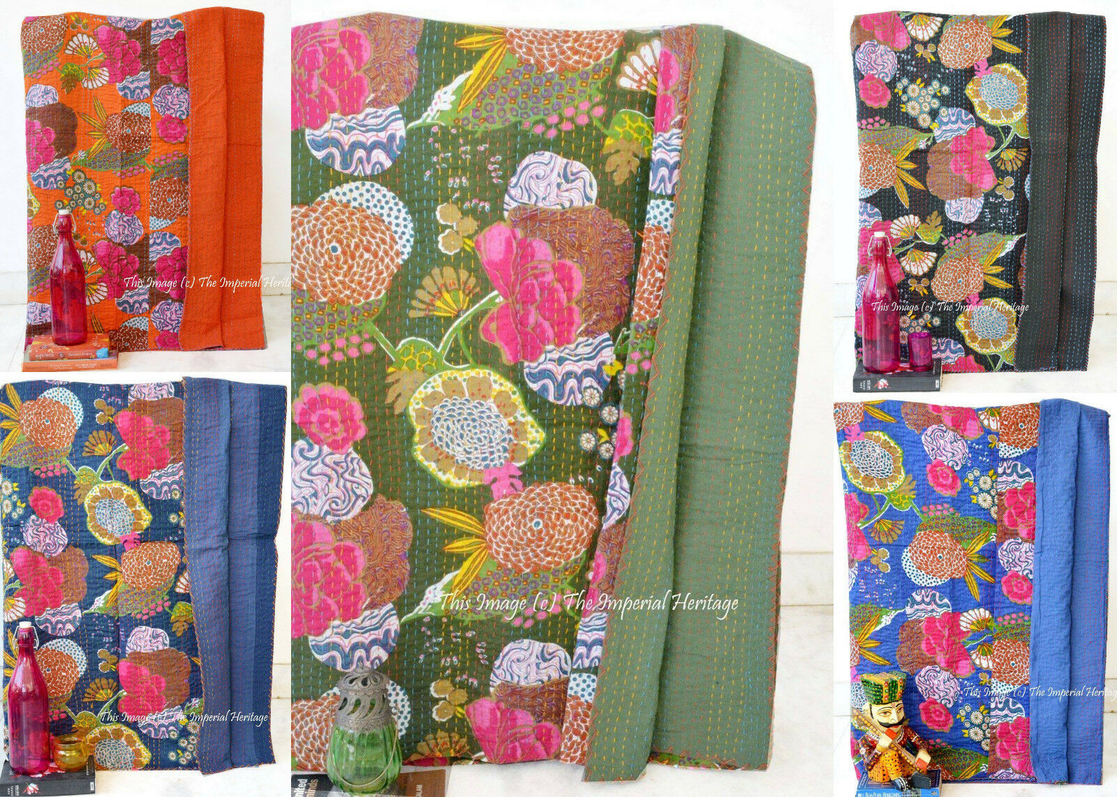 Indian Handmade Fruit Kantha Blanket Quilt Throw Twin Vintage Cotton Bed-Cover