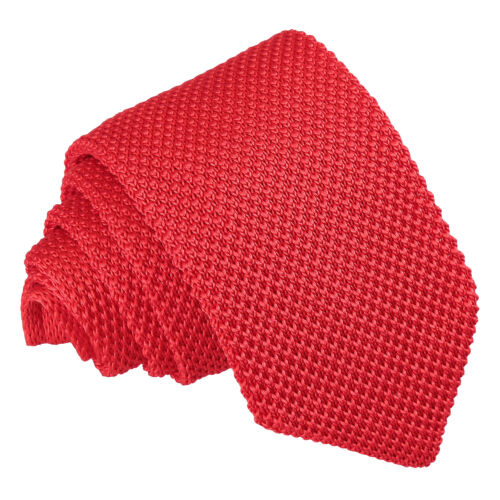 DQT Knit Knitted Plain Solid Red Casual Mens Slim Tie