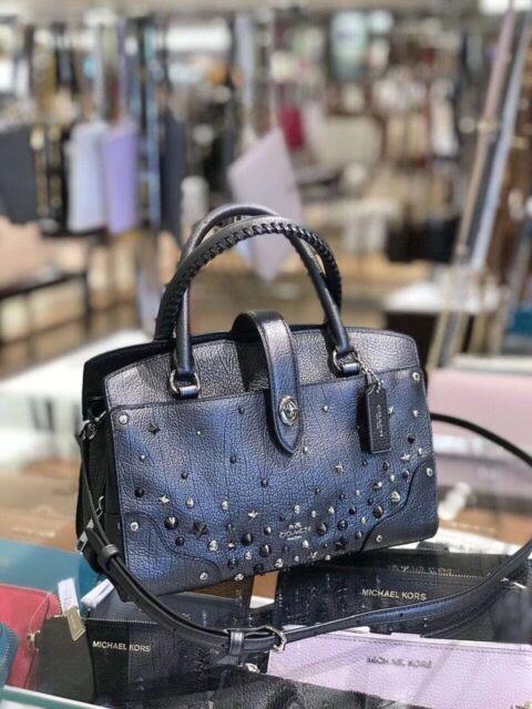 739bc841d ... sale coach mercer satchel 24 star rivets metallic graphite leather  59146 395 e7e91 194c2