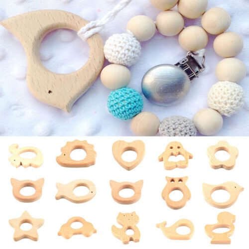 Baby Nursing Toy Cartoon Natural Wooden Eco-Friendly Safe Teether Teething Gift