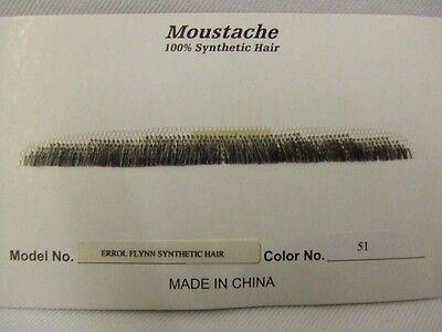 Errol Flynn Moustache ~ Spiv ~ Gangster ~ Grey/Brown ~ 51 ~ Human hair