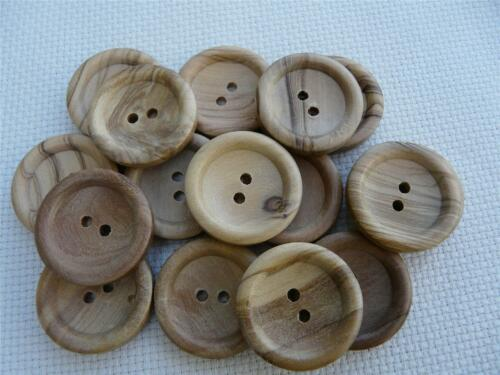 10 NATURAL WOODEN RIDGE STYLE BUTTONS SIZE 26 FREE P/&P UK 16MM