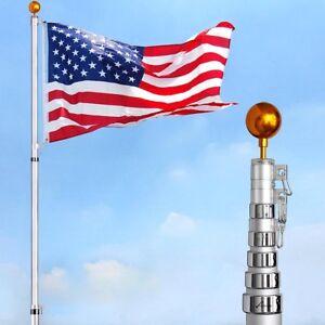 30FT Flag Pole Aluminum Telescopic Flagpole Kit 3x5' U.S Flag Fly 2 Flag