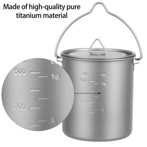 1pc Lightweight Portable Titanium Outdoor Camping Pot Folding Handle Cup