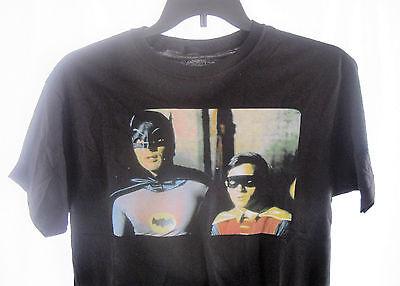 NWOT Adam West Batman T-Shirt Black Burt Ward Robin Size- M TV Show DC Comics