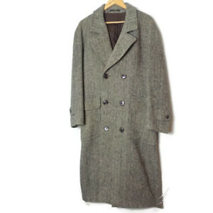 Vintage-Christian-Dior-Tweed-Trench-Coat-Size-36R-36-Mens-Overcoat-Long-Wool-vgc