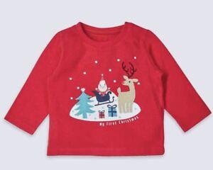 M-amp-S-Bambino-0-3-3-6-9-12-il-mio-primo-Natale-Maglione-Manica-Lunga-T-Shirt-girocollo-Natale