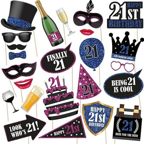 Unique 21st Birthday High Quality Props On Sticks Photo Booth Party