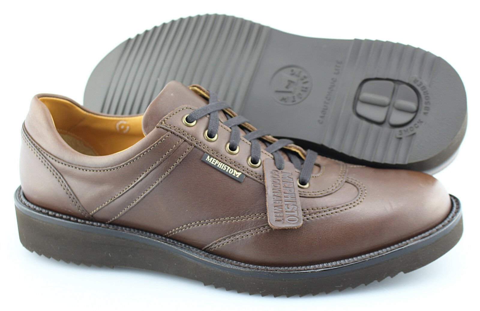 Men's MEPHISTO 'Adriano' Brown Leather Sneakers Size US 11