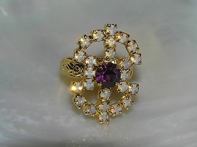 Estate SC Signed Goldtone with Faux Opal & Purple Rhinestone Outline Ring Size 9