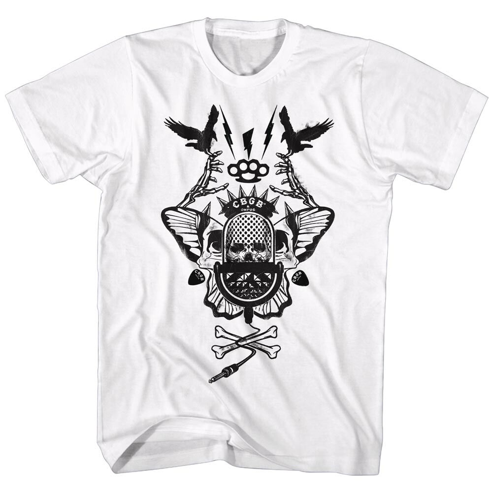Officially Licensed CBGB & OMFUG CROSS BONES Sizes SM - 5XL - White Mens T-Shirt