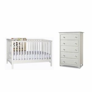 Details About 2 Piece Nursery Furniture Set With Crib And Dresser In White