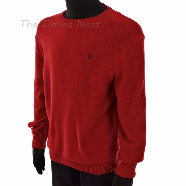 21d8e8e54 Chaps by Ralph Lauren Men s Large Textured Red Sweater Cotton Crew Neck for  sale online