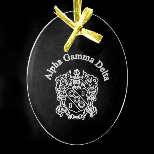 Alpha Gamma Delta, ΑΓΔ,  Name & Crest Ornament/Sun Catcher Beveled Crystal Oval