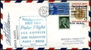 USA-1957-francobolli-di-PA-su-busta-1-volo-polare-TWA-m930