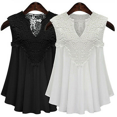 Womens Appealing Sexy Summer V-neck Sleeveless Chiffon Casual Tops Blouse Shirts
