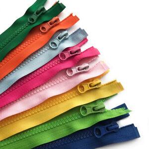 CHOICE OF LENGTH /& COLOUR PLASTIC TEETH CHUNKY OPEN ENDED ZIP