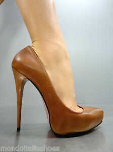 MORI-ITALY-PLATFORM-HIGH-HEELS-PUMPS-SCHUHE-SHOES-REAL-LEATHER-BROWN-MARRONE-41