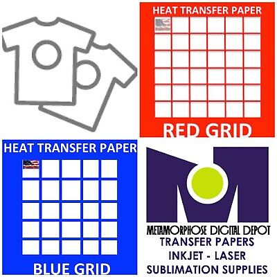 Sublicotton RED Grid Blue Grid Transfer Papers For COTTON Shirts 10 Shts Each