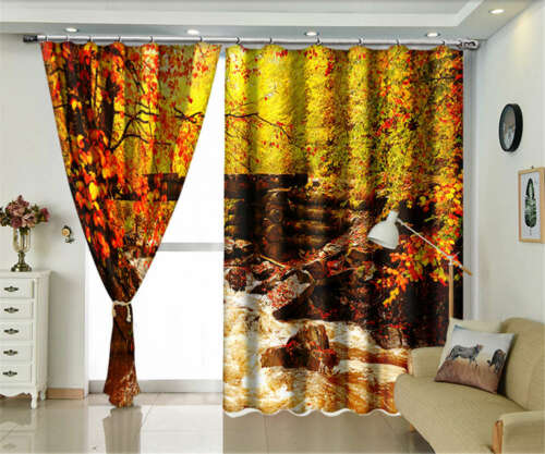 Water Flows Many Rocks 3D Curtains Blockout Photo Printing Curtains Drape Fabric