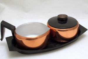 Mid-Century-Sugar-Creamer-Set-Aluminum-and-Copper-Color-Vintage-Kitsch