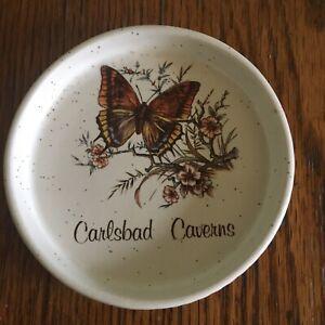 Vtg Treasure Craft Trinket Dish Carlsbad Caverns souvenir New Mexico USA White