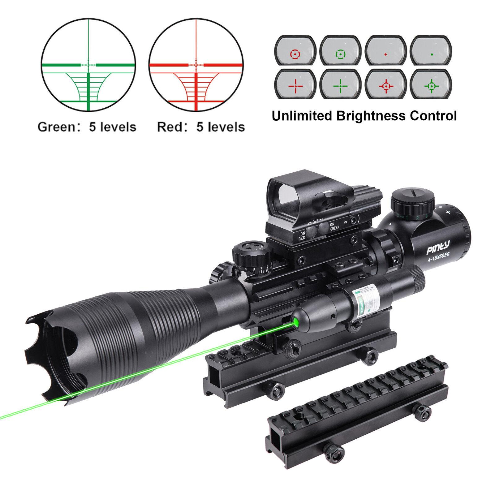 Rifle Scope Combo 4-16x50EG Illuminated Optics Sight & JG13 G Green Laser