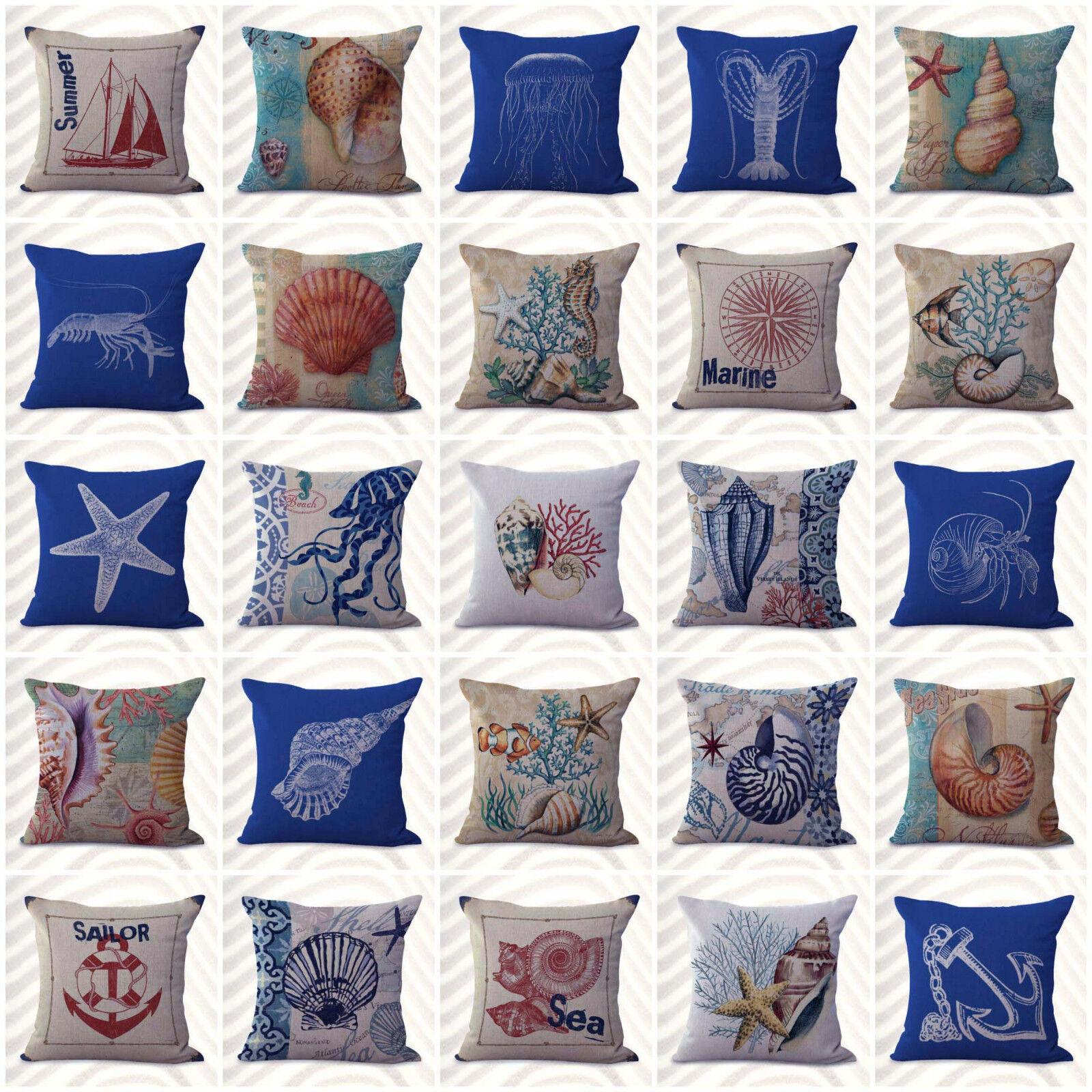 US Seller- 20pcs cushion covers shells seahorse turtle nautical patio furniture