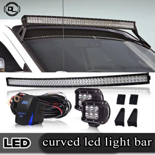 "54inch DOT Curved LED Light Bar Brackets Fit Chevy Silverado 1500 2500 4/"" Pods"