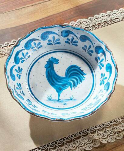 Country Blue Farmhouse Rooster Melamine Dinnerware Dishes Plates Bowls Platter