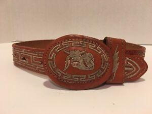 MENS MEXICAN EMBROIDERED metalic colr WESTERN PITEADO GRABADO BELT 2 inch width